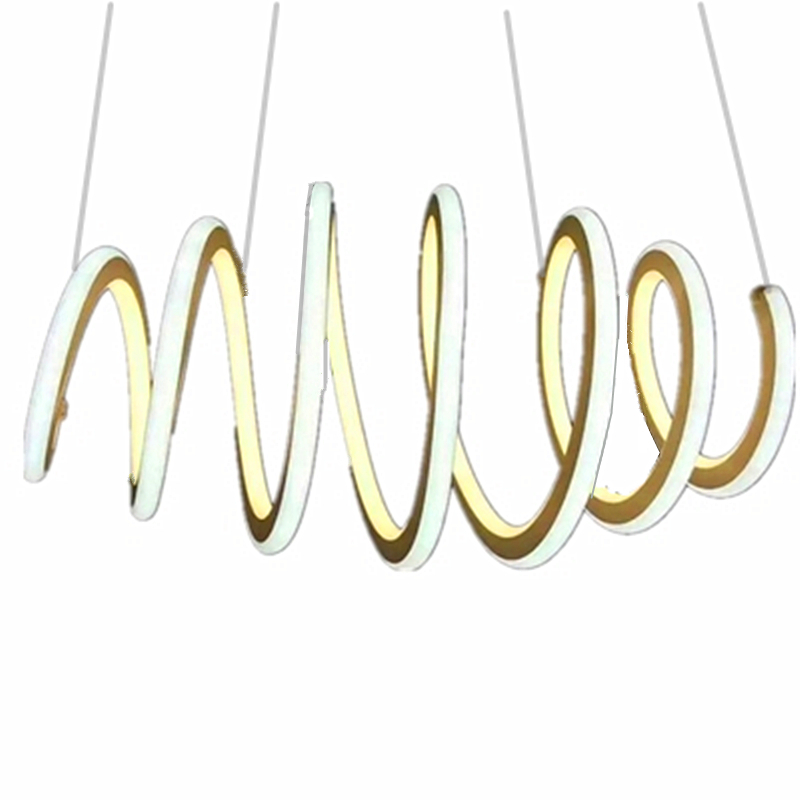 Modern Irregular Circle Stretchable Aluminum luster Two-color Patch Light Source Living Room Restaurant Chandelier