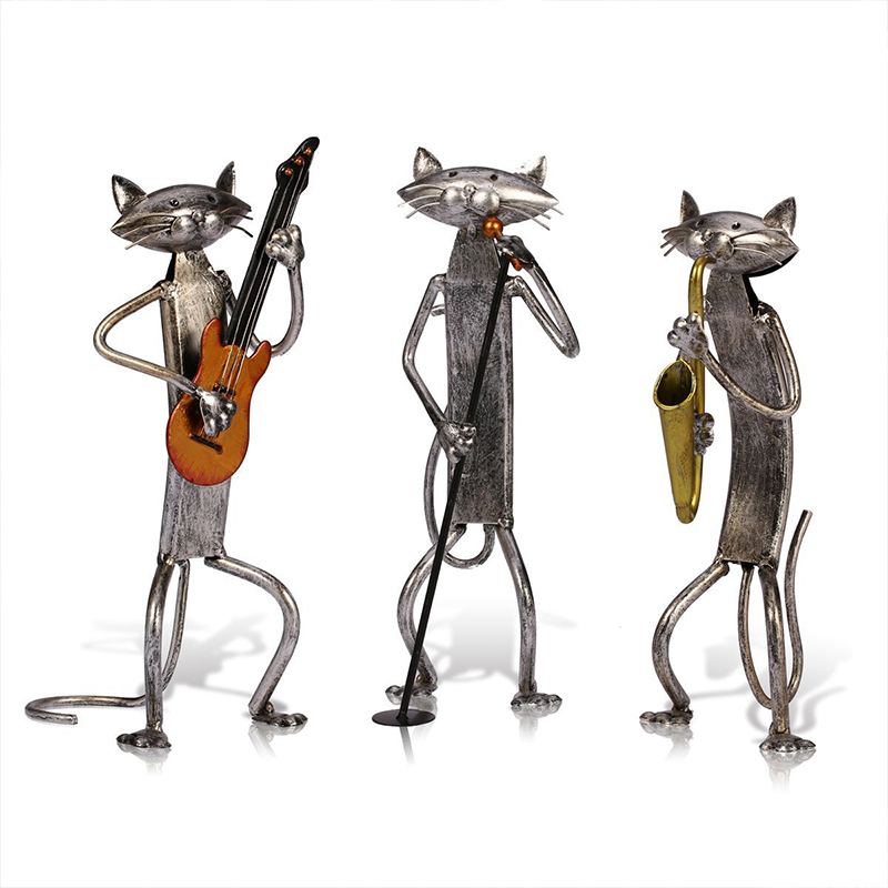 Modern Iron Music Band Abstract Cat Model Ornaments Artwork Crafts Iron Cat Figurines Home Decoration Creative Birthday GiftsModern Iron Music Band Abstract Cat Model Ornaments Artwork Crafts Iron Cat Figurines Home Decoration Creative Birthday Gifts
