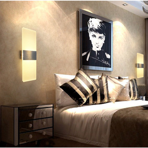 Image 4 - אקריליק מנורת קיר פשוט סגנון אורות מיטת סלון מלון מסדרון מעבר LED קיר אורות AC110V 220V גופי תאורה