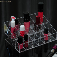 Crystal Transparent Acrylic 24 Grids Cosmetics Storage Box Lip Sticks Shelf Nail Enamel Dresser Organizer Container