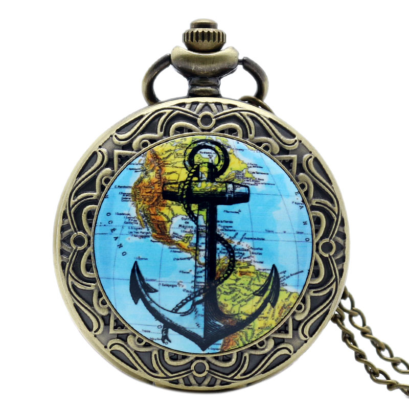2016 Best Gift Bronze American Continent Map Navigation Anchor Pocket Watch With Long Necklace Chain