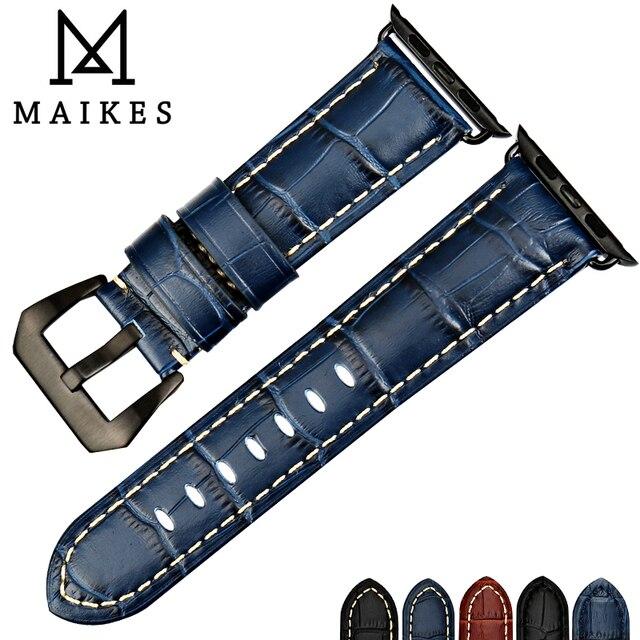 Maikes moda azul pulseira de couro para apple assistir banda 44mm 40mm 42mm 38mm série 4 3 2 iwatch pulseira pulseiras