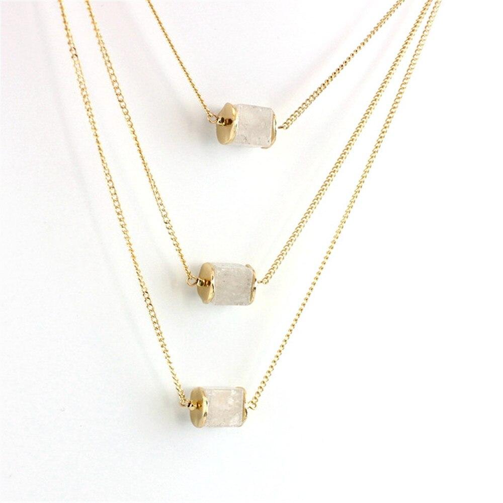51dc151eecfd 2016 estilo euramerican del envío libre naturales cristal blanco cuadrado  colgante tres capas del collar