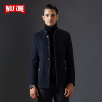 Simple Pure Color Slim Men Casual Overcoat Jacket Business Stand Collar Winter Fashion Short Wool Windbreaker Coat Mens