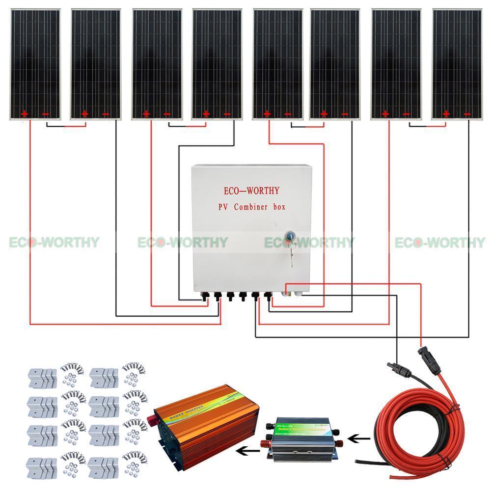 800Watt 12V System Kit 100W 12V Solar Panel & Combiner Box 45A Controller for RV Solar Generators