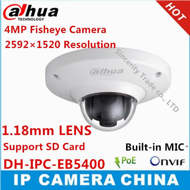 imágenes para IPC-EB5400 Dahua 4 MP Full HD PoE WDR Panorama 360 grados de Fisheye IP de Red Domo Cámara incorporada MIC soporte SD tarjeta