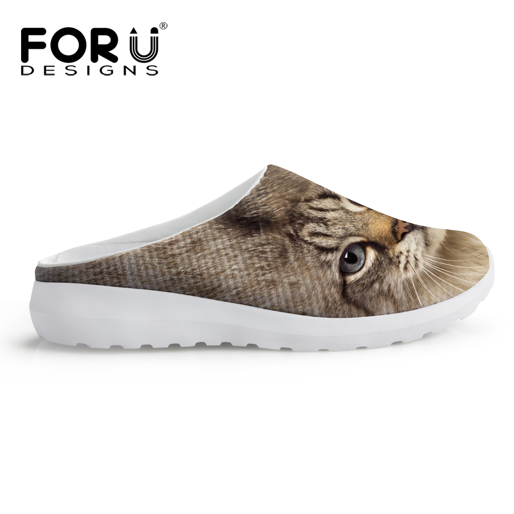 FORUDESIGNS Fashion Women Summer Mesh Sandals Casual 3D Animals Owl Cat Dog Slip-on Slippers Breathable Female Beach Water Shoes