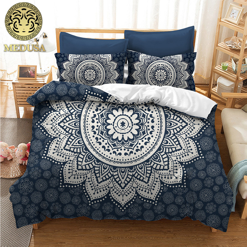 medusa boho mandala feather 2017 fashion duvet doona cover set king queen full twin super king. Black Bedroom Furniture Sets. Home Design Ideas