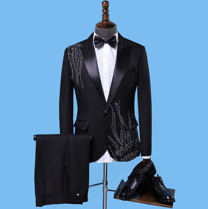 Black fashion slim hot drilling clothing men suit set with pants mens wedding suits formal dress men's groom suit + pant S 2XL