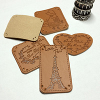 Wholesale 5 Design Leather Label 100pcs Set Handmade Customized Mixed Patchwork DIY Sewing Label Cloth Garment