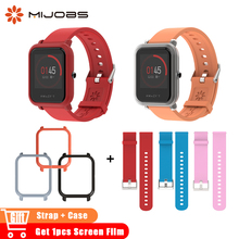 Mijobs 20mm Silicone Wrist Strap Sports Wristband Bracelet Case Cover for Xiaomi Huami Amazfit Bip BIT Smart Watches Accessories