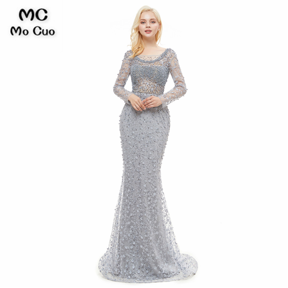 Illusion Long Sleeve Mermaid   Prom     Dresses   with Pealrs Lace Tulle Sweep Train Evening Gown   Prom     Dress   Custom Made