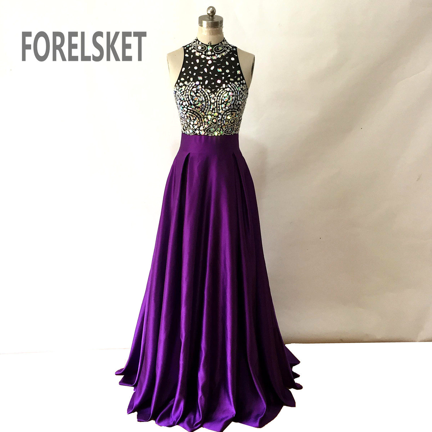 Purple color Satin Long   Prom     Dresses   2019 new formal Evening Gowns beaded Floor Length A-line Royal Blue Sleeveless Keyhole Back