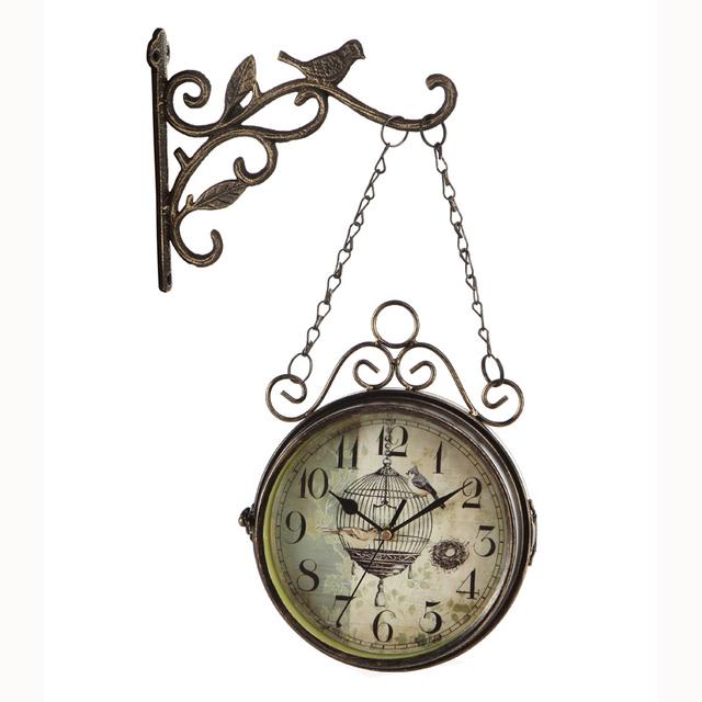 Wrought Iron Double Sided Wall Clock Vintage Watch Retro Saat Relogio de Parede Digital Reloj Mural Duvar Saati Horloge Murale