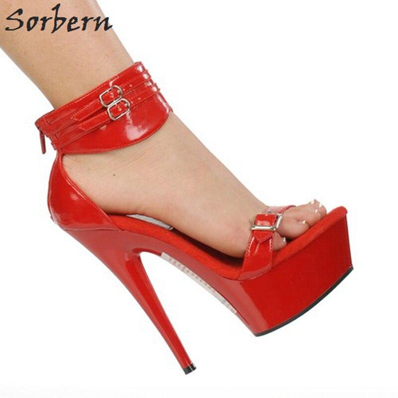 red 15 Mujeres Mujer 5 Correa Tacones Las Tobillo Black silver custom Cm Zapatos Verano Color Sorbern Honda De Sandalias Plataforma Clear Tacón Heel Kawaii red Alto gZ7nw0qA