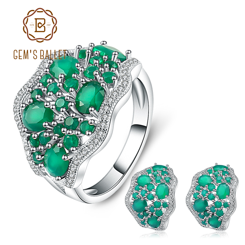 GEM S BALLET 14 31Ct Natural Green Agate Jewelry Set 925 Sterling Silver Gemstone Earrings Ring