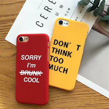 Lovely Cartoon Letter Phone Case For iphone X 6 6S 8 Plus Fashion Hard PC Frosted Back Cover 7 Cases Yellow Capa