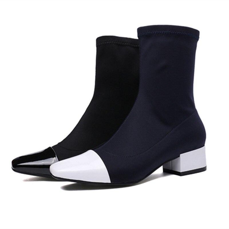 ENMAYER printemps chaussures à talons hauts femme bout carré talon carré plate forme femmes chaussures décontractées à lacets datant solide peu profonde dame chaussures - 2