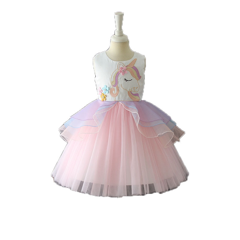 2018 pony girl dress handmade stitching rainbow mesh princess dress holiday party dress summer girl pettiskirt Girls Clothes thai tide brand cape style fairy layer tassel stitching slim dress hollow out mesh lace stitching fringed champagne dress white