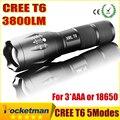 E17 CREE T6 XM-L 3800LM LEVOU Lanterna Tática Tochas De Alumínio Zoomable Lanterna Tocha Lâmpada Luz Para 3 XAAAor 18650 Bateria