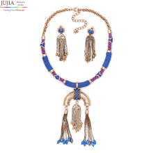 2017 wholesale hot sale good quality hand made jewelry set earring with necklace luxury bohe pendant fashion statement Necklace