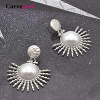 Carvejewl big earrings metal sunshine simulated pearl drop dangle earrings plastic post anti allergy American wholesale jewelry