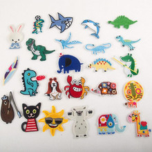 Sea Land Animal  Badge Repair Patch Embroidered Iron On Patches For Clothing Close Shoes Bags Badges Embroidery DIY