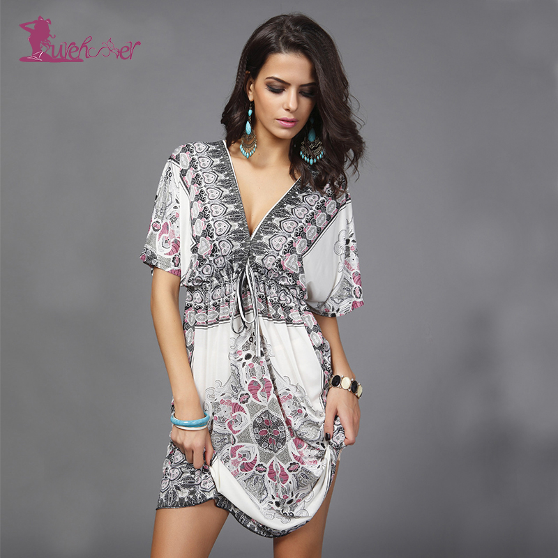 Lurehooker Sexy V-neck Beach Dress Short Sleeve Long Cover Up Printed Beach Dresses High Waist Beachwear Summer Beach Skirt 5mp ip camera wifi module motion sensor h 265 ip cameras 1080p wi fi cctv camera video surveillance with wifi alarm tf card port