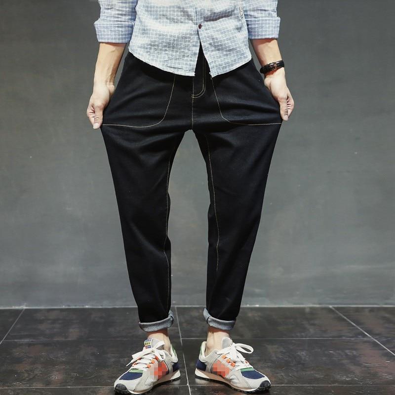 2018 New Jeans Men Large Size Denim Harem Pants Stretch Loose Fit Cowboy Streetwear Hop Hop Baggy Full Length Trousers For Men