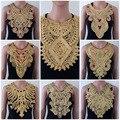1 pc Ofício Ouro collar Lantejoula Floral Bordado Applique Guarnição Decorado Lace Decote Gola Venise Costura Frete Grátis