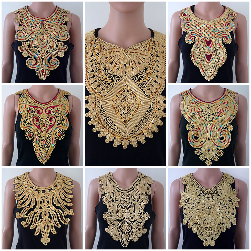 1ks Zlatý límec Stříbrné řemeslo Venise Sequins Květinové vyšívané ozdobné zdobené zdobené čedičky Náhrdelníky na šaty Šicí příslušenství