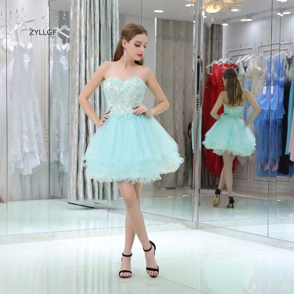 ZYLLGF robe de bal Tulle robe de bal chérie Appliques perlées robes courtes de bal de chine SL27