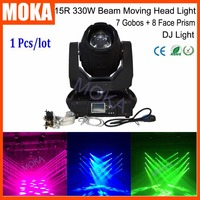 Factory Price 15R 330W Led Moving Head Beam Light IP20 Beam Moving Head Stage Disco Bar 7 Gobos 8 Face Prism Beam Light