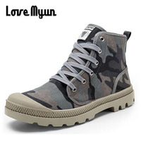 2018 big size Men High top retro sneakers Ankle motorcycle Boots camouflage Canvas Casual army Shoes CC 08