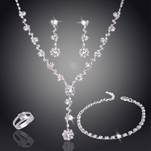 Jewellery Set Bridesmaid Silver Rhinestone Jewlery Sets Nigerian Wedding African Beads Wedding Jewelry Sets for Brides