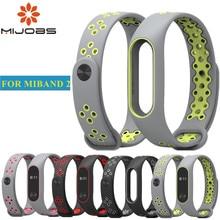 Mijobs для Xiaomi Mi Band 2 ремешок Спортивные miband 2 Ремешок Браслет для xiaomi mi band 2 браслет красочные силиконовый замена