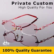 2018 Frameless Eyeglasses Women Hollow Out Frame Design Diamonds Clear Lenses Myopia Glasses Computer Astigmatism Eyeglasses 617