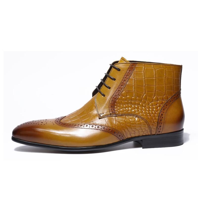Estampado Clásico Zapatos Tamaño Felix Genuino Tobillo Con Hombres Vestido Alta Cocodrilo Botas Brown Detalle Punta Chu Marrón 39 Los 46 De Cuero 2018 wEqtqZ