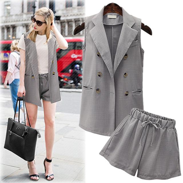 Europa Moda Verão das Mulheres Define Casaco Sem Mangas Colete + Short 2 Peças Senhoras fatos de Treino Casual Suit Plus Size 4XL JA4062