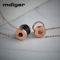 Mdiger Mixed 4 PCS/LOT Fashion Titanium Pendant Roman Digital Necklace Steel Chain Ceramic Pendant Necklace Lovers Accessories