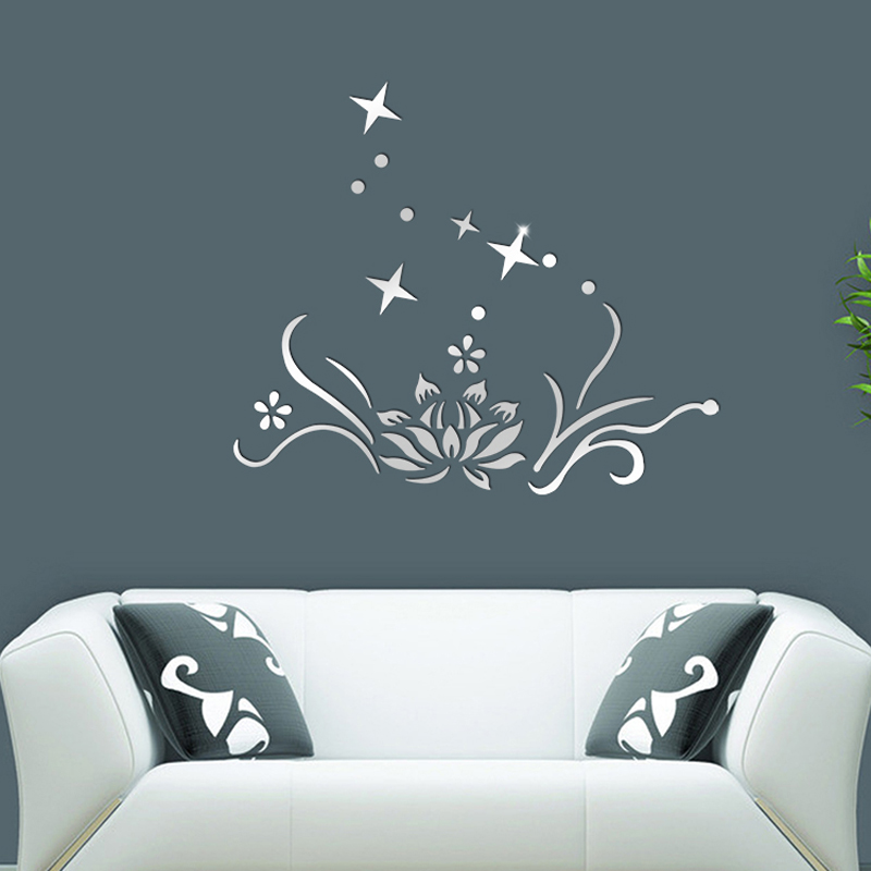 petal stars design mirror wall stickers diy 3d acrylic living room home decoration wall stickers home - Designer Wall Stickers
