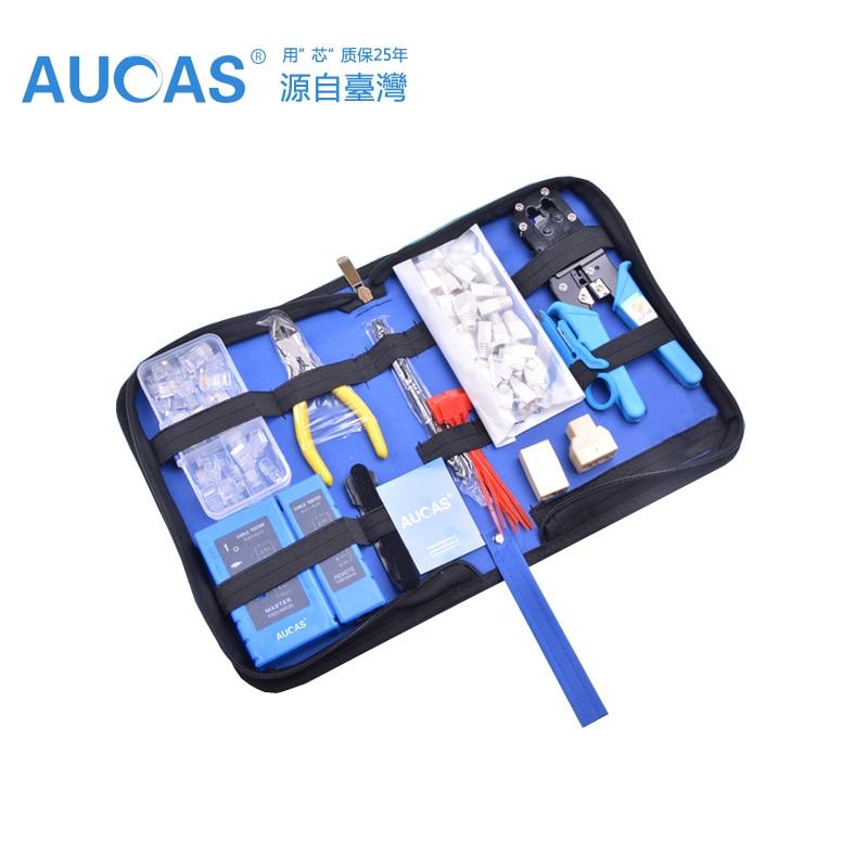 Aucas Ethernet Cable tool RJ11 RJ45 Cat5 Cat6 Crimp network Cable crimping tool set Crimper pliers tool set kit network tool bag