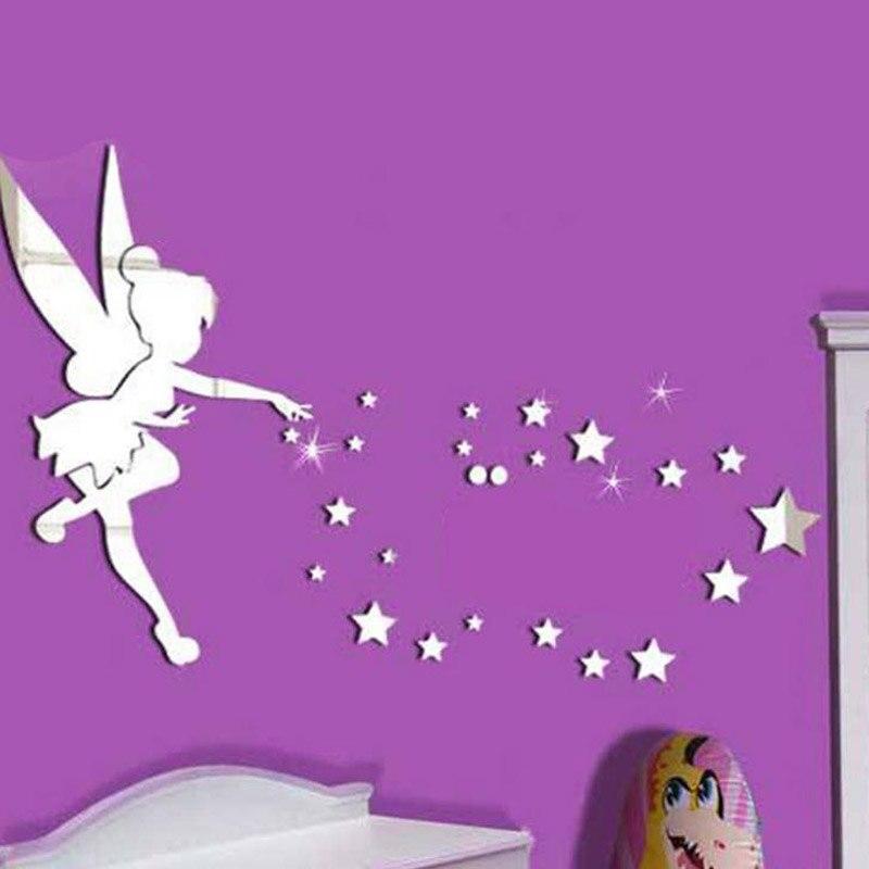 Fairy Angel Acr/ílico Espejo Adhesivos De Pared 3D Diy /Ángel En The World Star Mirror Silver Kids Dormitorio Decoraci/ón Para El Hogar 71X46Cm