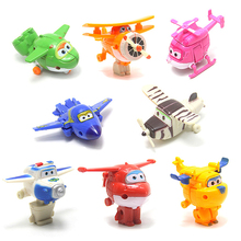 8pcs set Mini Super Wings Deformation Transformation Airplane Cake Decoration Micro Landscape Decoration font b Toys