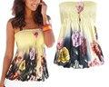 2016 Mulheres Da Moda Strapless Top Floral Impressão Soltas Sexy Parte Superior Do Tanque Praia Camisetas Casuais Verão Halter Vest Camis