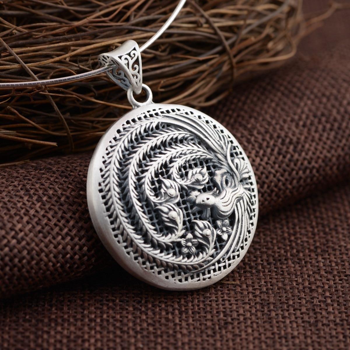Cerf roi bijoux en gros argent S925 pendentif en argent exquis creux Phoenix que d'autres cadeaux