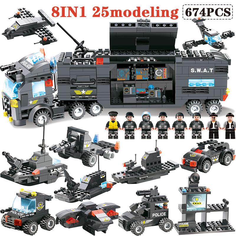 цена на 647PCS 762PCS Compatible Module LegoING City Mobile Police Series SWAT City Police Truck Station Blocks Bricks Toy For Children