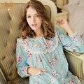 Mulheres Pijama Sleepwear a Primavera Eo Outono Em Torno Do Pescoço Conjuntos de Pijama Feminino Longo-Luva 100% Algodão Doce Set Lounge Cardigan 679