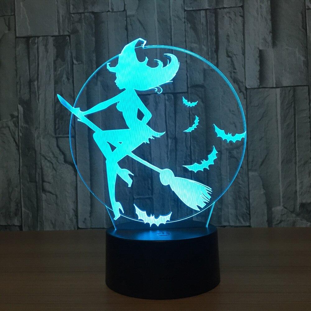 Halloween Bat Hexe Acryl 7 Farbwechsel 3D LED Nachtlicht Schlafzimmer Lampe Wohnzimmer Lichter Dekoration Touch