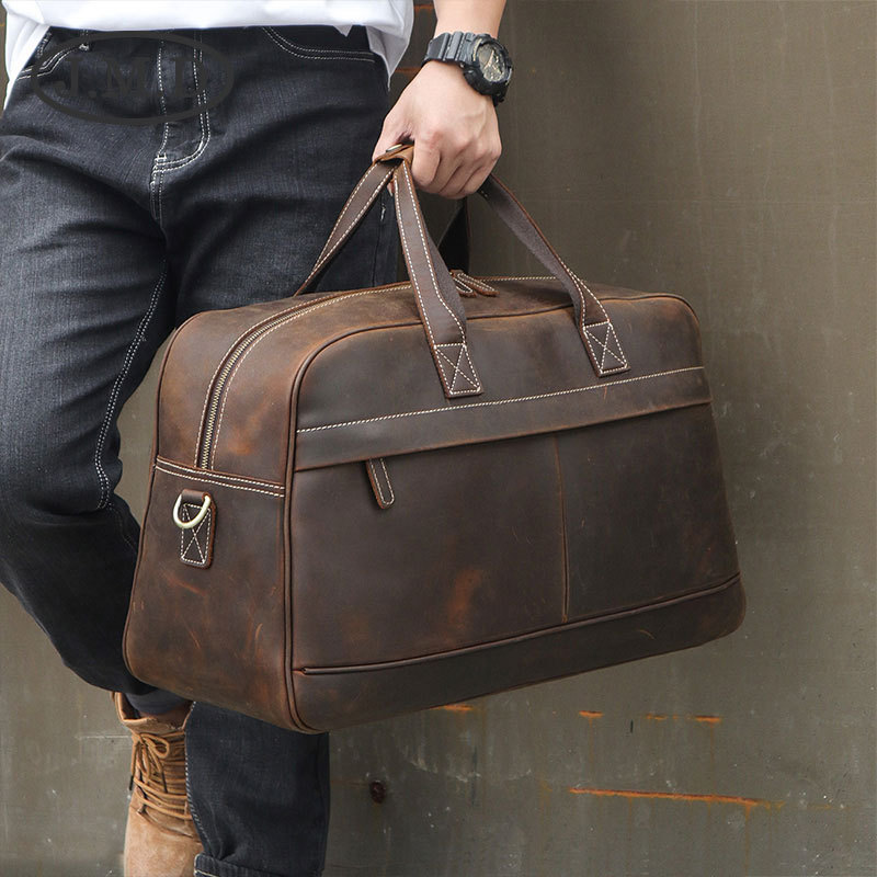 J.M.<font><b>D</b></font> <font><b>2019</b></font> New Outdoor Luggage Bag Genuine Leather Shoulder Messenger Travel Bag Trend Large Capacity Handbag 6006 image